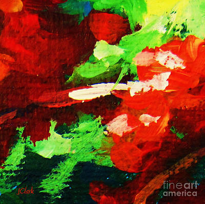 Vivid Colour Painting - Red And Green by John Clark