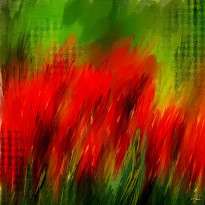 Red Tulip Painting - Red And Green by Lourry Legarde