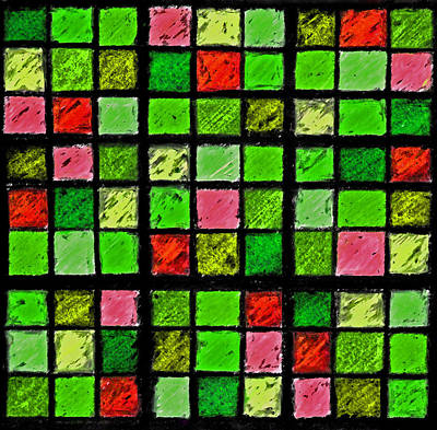 Unique Quilts Photograph - Red And Green Sudoku by Karen Adams