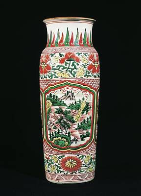 Ceramics Photograph - Red And Green Vase. Chinese Art. Ming by Everett