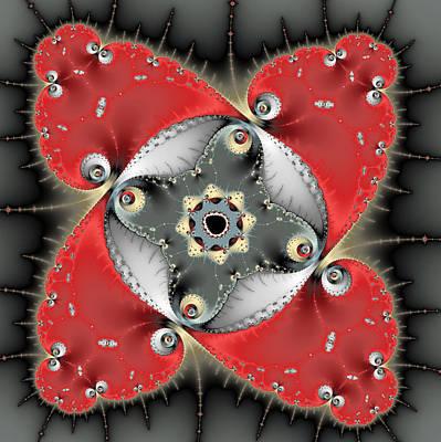 Meditative Digital Art - Red And Grey Fractal Art Square Format by Matthias Hauser