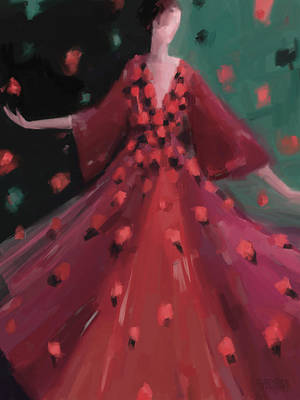 Portrait Of Woman Painting - Red And Orange Petal Dress Fashion Art by Beverly Brown
