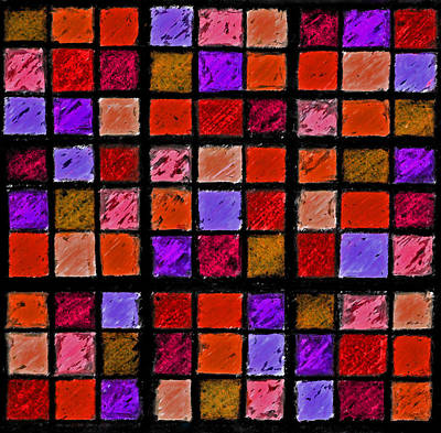Unique Quilts Photograph - Red And Orange Sudoku by Karen Adams