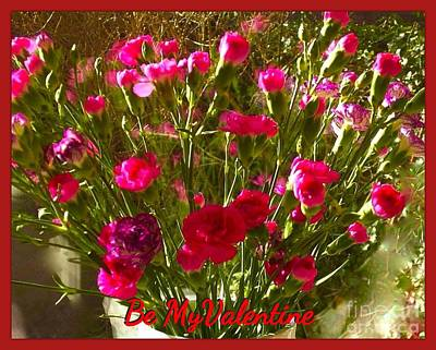 Photograph - Red And Pink Carnations Valentine by Joan-Violet Stretch