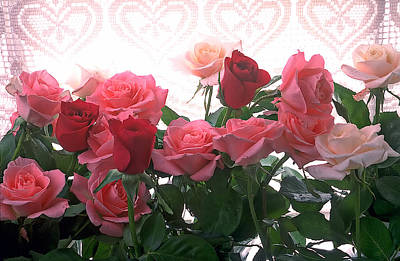 Curtains Photograph - Red And Pink Roses In Window by Garry Gay