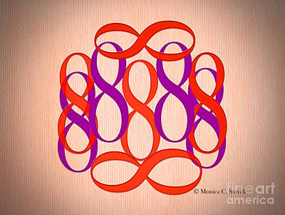 Digital Art - Red And Purple 8's by Monica C Stovall