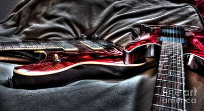 Red And Ready Digital Guitar Art By Steven Langston Art Print by Steven Lebron Langston