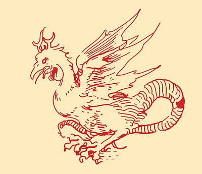 Red And Tan Dragon Art Print by