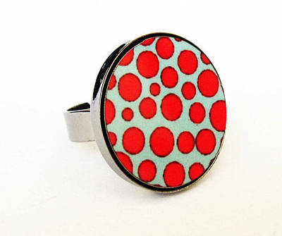 Adjustable Ring Jewelry - Red And Turquoise Dots Ring by Rony Bank