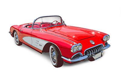 Red And White 1958 Corvette Fine Art Illustration Art Print