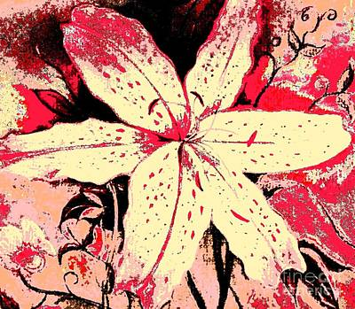 Painting - Red And White Artsy Lily by Hazel Holland