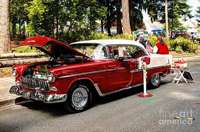 Photograph - Red And White Bel Air by Chris Anderson