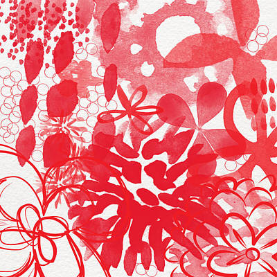Nature Abstract Painting - Red And White Bouquet- Abstract Floral Painting by Linda Woods