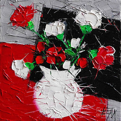 Abstract Red Black Grey Painting - Red And White Carnations by Mona Edulesco