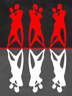 Red And White Dance Art Print by Naxart Studio