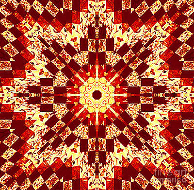 Red And White Patchwork Art Art Print by Barbara Griffin