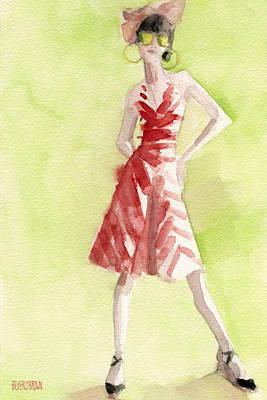 Abstract Fashion Designer Art Painting - Red And White Striped Dress Fashion Illustration Art Print by Beverly Brown Prints