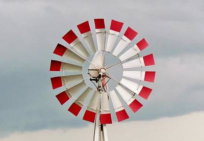 Print featuring the photograph Red And White Windmill by Cynthia Guinn