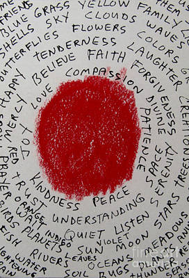 Drawing - Red And Words by Patricia Januszkiewicz