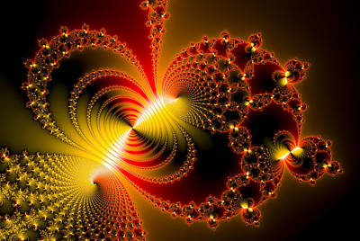 Fractal Digital Art - Red And Yellow Abstract Fractal Art Metallic Effect by Matthias Hauser