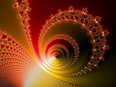 Red And Yellow Abstract Fractal Art Print by Matthias Hauser