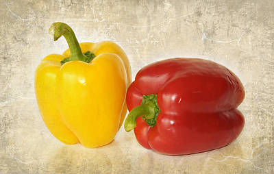 Photograph - Red And Yellow Bell Peppers by Charles Beeler