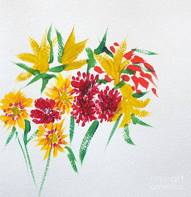 Painting - Red And Yellow Bouquet by Walt Brodis