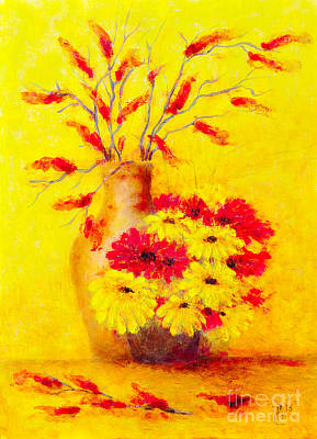 Beautiful Scenery Painting - Red And Yellow Flower by Martin Capek