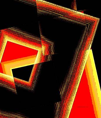 Abstract Digital Digital Art - Red And Yellow Geometric Design by Mario Perez
