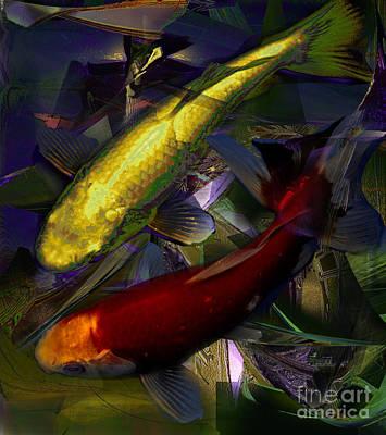 Koi Digital Art - Night Koi by Airton Sobreira