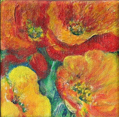 Painting - Red And Yellow Poppies by Shan Ungar