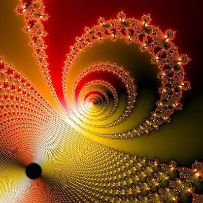 Modern Abstract Digital Art Digital Art Digital Art - Red And Yellow Shining Fractal Spirals by Matthias Hauser