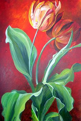 Painting - Red And Yellow Tulips by Tracey Harrington-Simpson