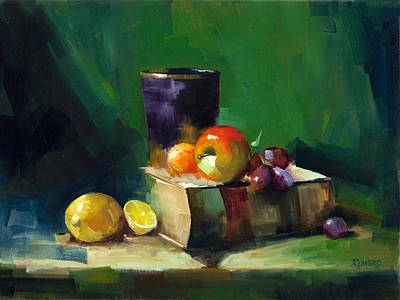 Red Apple Book And Purple Art Print by Pepe Romero
