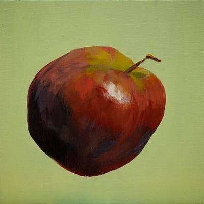 Painting - Red Apple On Green by Joyce Snyder