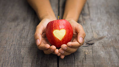 Old Hands Photograph - Red Apple With Engraved Heart by Aged Pixel
