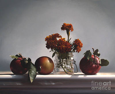 Realist Painting - Red Apples And Marigolds by Larry Preston