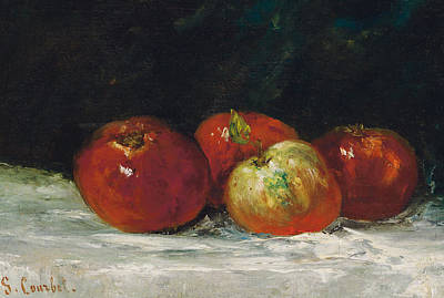 Red Apples Print by Gustave Courbet