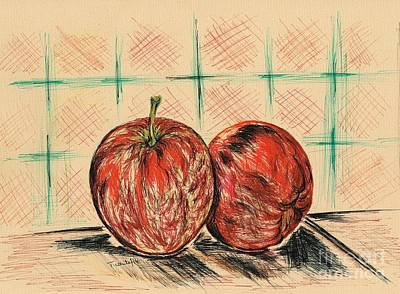 Healthy Eating Drawing - Red Apples by Teresa White