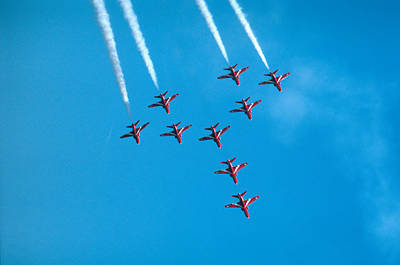 Photograph - Red Arrows Airshow - Aircrafts Flying In Formation by Matthias Hauser