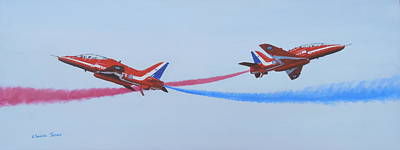 Red Arrows At Crowd Centre Art Print by Elaine Jones