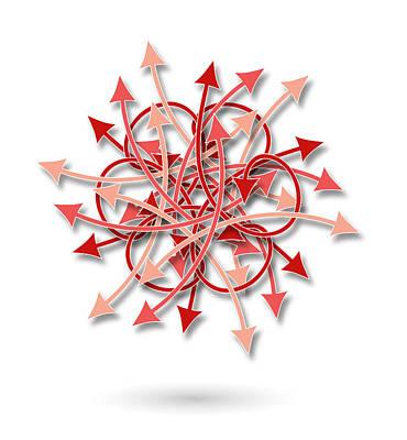 Chaos Maze Digital Art - Red Arrows Flowers Pattern by Jozef Jankola
