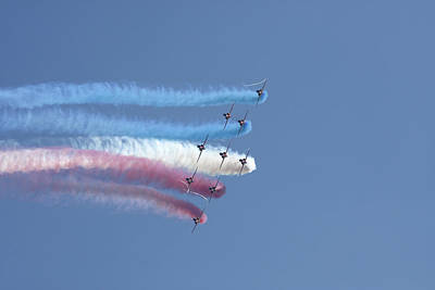 Photograph - Red Arrows Formation Flying by Steve Ball