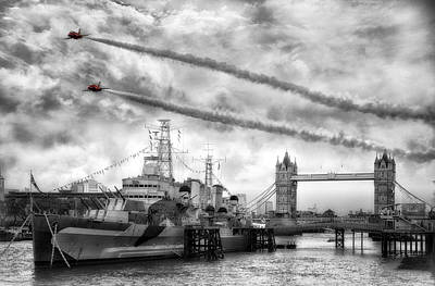 Belfast Bridge Photograph - Red Arrows London Tower Bridge Flyby by Jason Green