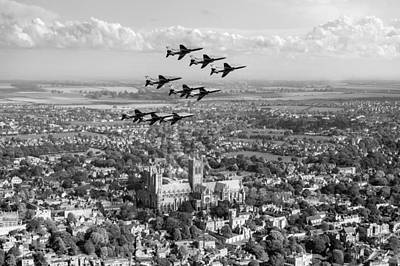 Digital Art - Red Arrows Over Lincoln Black And White Version by Gary Eason