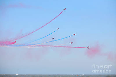 Red Arrows Over The Sea Print by Paul Cowan
