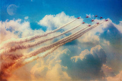 Digital Art - Red Arrows Smoke The Skies by Chris Lord