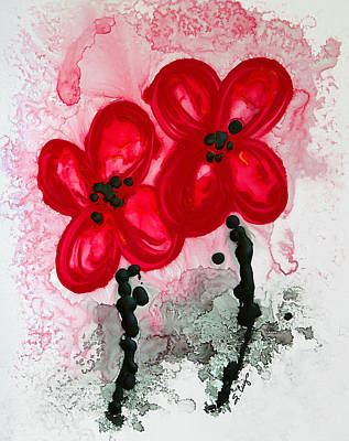 Black And White Art Painting - Red Asian Poppies by Sharon Cummings