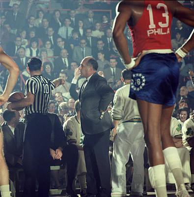 Defending Photograph - Red Auerbach Talks With Ref by Retro Images Archive
