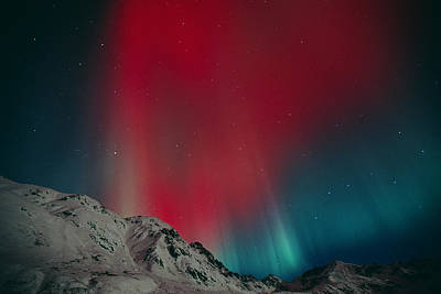 Red Aurora Over Talkeetna Mountains At Art Print by Greg Hensel
